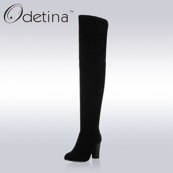 Odetina 2017 Handmade Winter Large Size Suede Over The Knee Boots Women High Heel Black Zip Up Long Boots Chunky Heels Round Toe