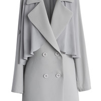 Inspirational Double Breasted Mac Coat in Grey Grey S/M