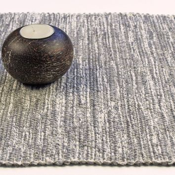 "Handwoven in USA Table Runner 72"" Gray and Gray"