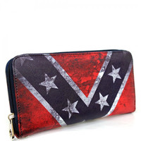 Distressed Vintage Rebel Flag Wristlet Wallet