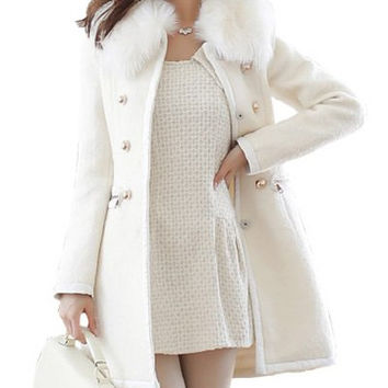 Off White Fur Collar Long Sleeve Coat