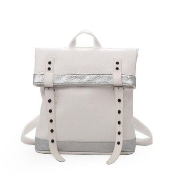 University College Backpack SUNNY SHOP Casual  Leather Women Fold Over Bagpack School  Peppy Faux Leather 2018 White Medium Size WaterproofAT_63_4