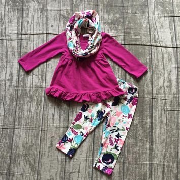 baby girls winter OUTFITS girls 3 pieces set with scarf baby girls top with floral pants outfits children girls boutique clothes