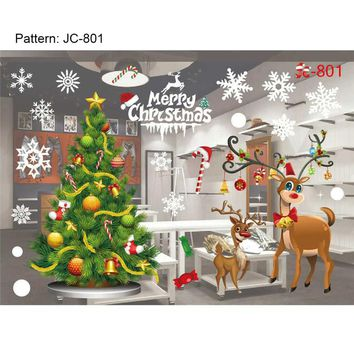 New Year Shop Window Snowman Christmas Tree Christmas Wall Sticker Christmas Decorations For Home Christmas Window Sticker P20