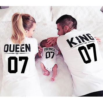 100% Cotton Matching T shirt King 07 Queen 07 Prince Princess Letter Print Shirts
