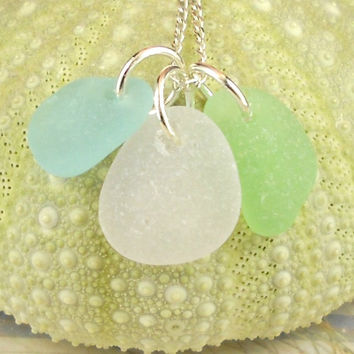 Sea Glass Necklace Trio Amethyst Seafoam Green and Turquoise Rare Pastel Colors