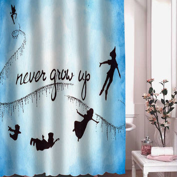 peter pan never grow up shower curtain adorabel batheroom hane made