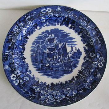 Transferware Blue Plate,Ferrara Wedgwood Blue Plate English Blue China Wedgwood China Plate Sailing Ship Clipper Ship Nautical Decor Beach
