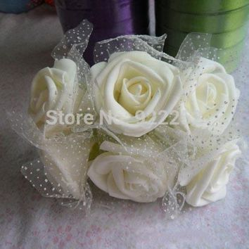 5cm Artificial handmade floral eva foam roses with silk,diy craft bride hand flower&wrist corsages&decoration for party