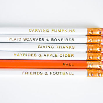 Fall Pencils- White, Orange, & Gold, Set of 6
