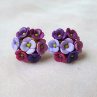 Stud Earrings Spring Summer stud earring Clay flower earrings cute little pink violet purple flowers polymer clay earrings by hand
