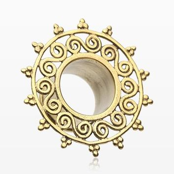 Golden Brass Bali Sun Mural Filigree Double Flared Tunnel Plug