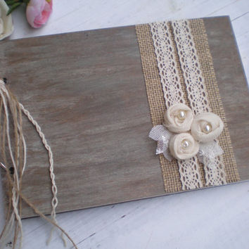 Wooden guestbook or photo album - Rustic Wedding guest book - Wood burlap and lace  - Best bridal shower gift-shabby chic wedding