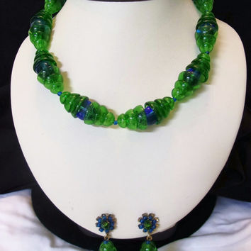 MIRIAM HASKELL Jewelry Blue Green Glass Bead Necklace Flower Drop Earrings