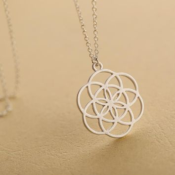 NEW ARRIVAL SILVER MANDALA NECKLACE FLOWER OF LIFE PENDANT