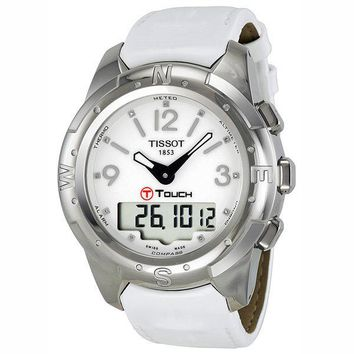 Tissot T-Touch II Titanium Diamond White Leather Ladies Watch T0472204601600