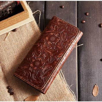 BILLETERA Floral Women Wallets Purse Genuine Leather Women Purse Wallet
