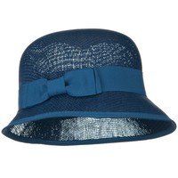 Ribbon Straw Bucket Hat - Blue W32S15C $14.99