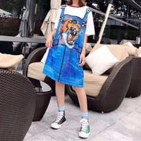 """Gucci"" Women Casual Fashion Multicolor Tiger Print Loose Short Sleeve Polo shirt Mini Dress"