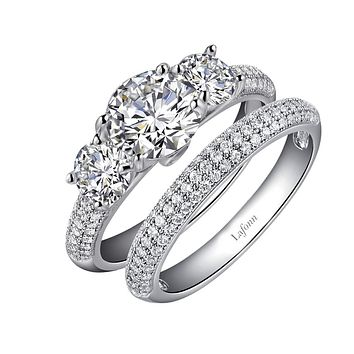 Lafonn Classic Sterling Silver Platinum Plated Lassire Simulated Diamond Engagement Ring Set (3.47 CTTW)