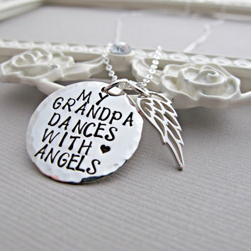 Remembrance Necklace, Angel Wing Necklace, Family Death, Grandpa, Grandfather, Memorial Necklace, Personalized, In Memory Necklace