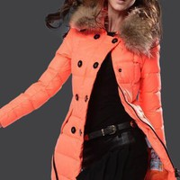 Moncler Albizia Hooded Puffer Coat Orange
