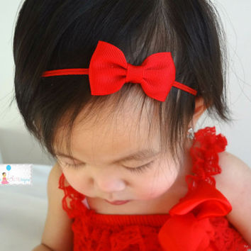 Christmas bow headband, Petite Red Bow Headband, Baby red bow, Baby headband,newborn bow,Baby girls headband,Girl's Christmas RED Headband