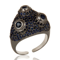 Pave Blue Sapphire Birthstone Victorian Estate Style Sterling Silver Ring