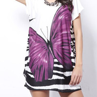 Purple Butterfly Print Dress
