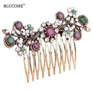 Blucome Vintage Turkish Wedding Accessories For Bridal Rhinestone Crystals Flower Floral Hair Combs Hair Jewelry For Women Girls