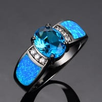 Bamos jewelry Women Wedding Ocean Blue Opal Rings Black Gold Filled Fashion Engagement Ring anel feminino RB0255