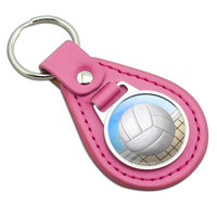 Sporty Volleyball Pink Leather Keychain