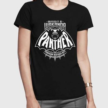 Panther Half Sleeves Women Black T-shirt