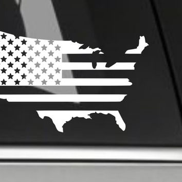 American Flag decal (set of 2) white, black, blue, red 6 inches for car windows, laptops, smart phones, iPhone, or any smooth surface