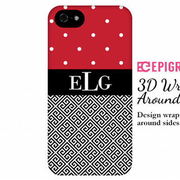 iPhone 6 case, iPhone 6 plus case, monogram iPhone case, 3D case, monogrammed gifts, red iPhone 5s,  galaxy s5 case, greek key iPhone 6 case