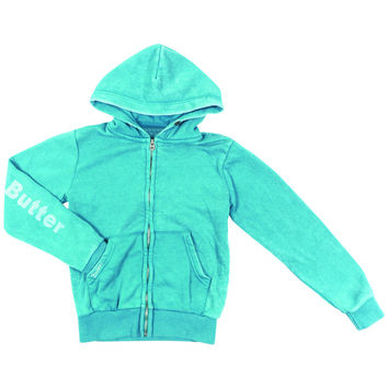"Butter GIRLS ""PUPPY LOVE"" BURNOUT ZIP HOODIE - Teal"