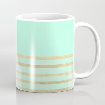 Mint and Gold stripes Mug by Xiari | Society6