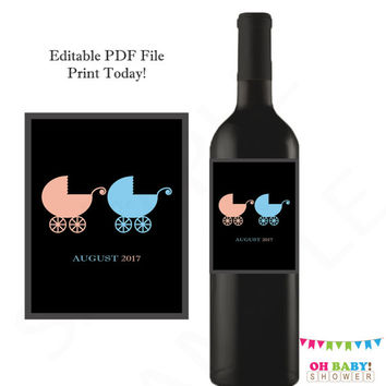 TWINS Gender Reveal Wine Label Twin Girl and Boy Gender Reveal Party Twins Baby Announcement Printable Download Baby Reveal Party Ideas