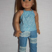 18 inch doll clothes, blue floral halter top, blue skinny jeans with lace trim, american girl ,maplelea
