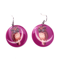 Make way into the fall & winter escape with the Resin Owl On The Moon Medium Size Circle Earrings by Beijo Brasil. Featuring a round shape with Owl On The Moon design, glossy resin lacquer, and finished with silver french-hook post.
