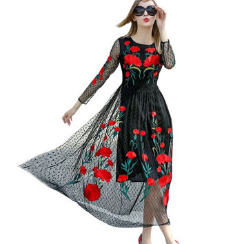 Dmart7dealWomen Runway Dress Brand Fashion Luxury Flower Embroidery Long Sleeve Vintage Party Dresses Long Maxi Dress Vestidos
