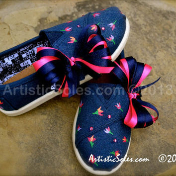 Hand Painted Custom TOMS - Tiny Flower -Toddler/Tiny