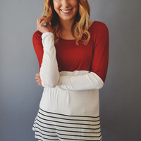 Lace and Stripes Tunic Rust