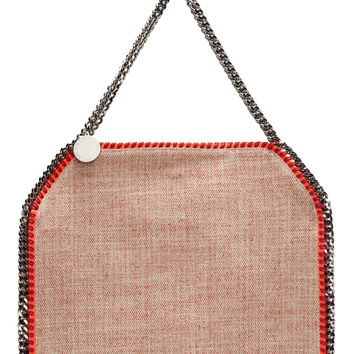 Stella Mccartney Red Neon-trimmed Woven Babybella Tote Bag