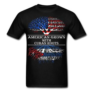 American Grown With Cuban Roots Printed T-Shirt - Men's Crew Neck T-Shirt Top Tees
