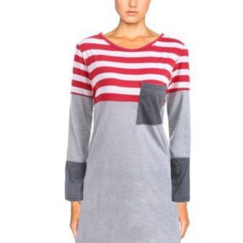 Autumn Winter Women Casual Multicolor Stripe Stitching Round Neck Long Sleeve Mini Dress