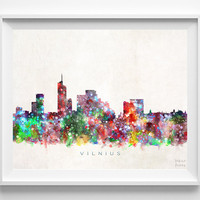 Vilnius Skyline Print, Lithuania Print, Vilnius Poster, Cityscape, Room Decor, Watercolor Painting, Giclee Art, Christmas Gift