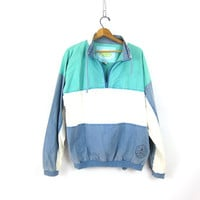vintage pullover shirt jacket blue white MInt Green Fall Cotton Top Preppy HIpster INDIE jacket UNISEX Coed size XL Extra Large