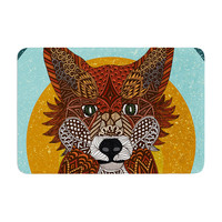 "Art Love Passion ""Colored Fox"" Blue Orange Memory Foam Bath Mat"