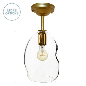 Bubble Clear Hand Blown Glass Pendant Light- Downrod